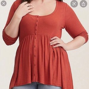Torrid Rust Ribbed Hi Lo Babydoll Tunic (flawed)